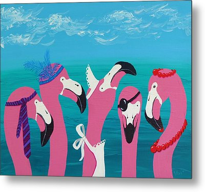 Metal Print featuring the painting Flamingo Party by Katherine Young-Beck