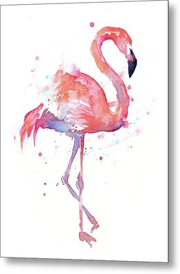 Flamingo Watercolor Facing Right Metal Print by Olga Shvartsur
