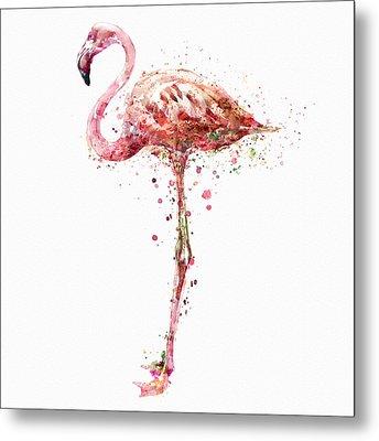 Flamingo Watercolor Painting Metal Print