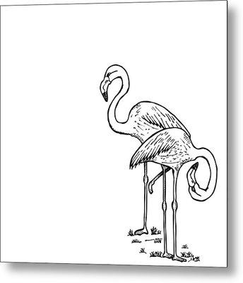 Flamingoes - Black And White Metal Print