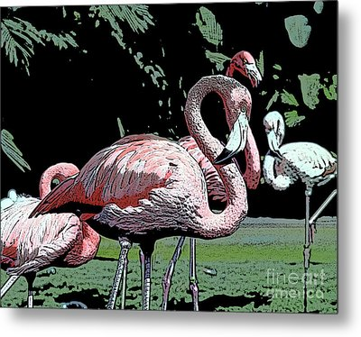 Metal Print featuring the photograph Flamingos I by Jim and Emily Bush