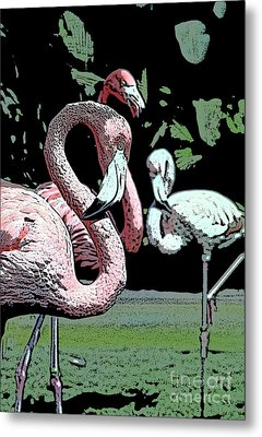Metal Print featuring the photograph Flamingos II by Jim and Emily Bush