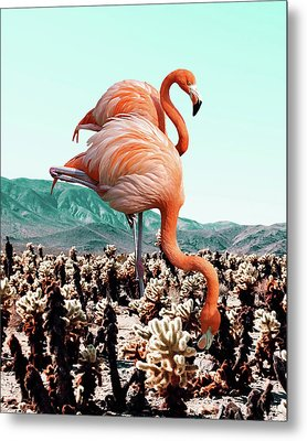 Flamingos In The Desert Metal Print