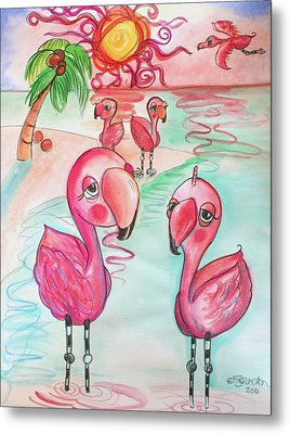 Flamingos In The Sun Metal Print by Shelley Overton