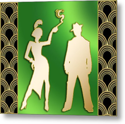 Metal Print featuring the digital art Flapper And The Gangster by Chuck Staley