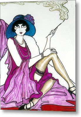 Metal Print featuring the greeting card Flapper Girl 4 by Rae Chichilnitsky
