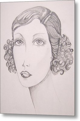 Flapper Girl Metal Print by Leslie Manley