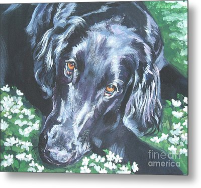 Metal Print featuring the painting Flat Coated Retriever by Lee Ann Shepard