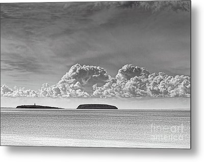 Flat Holm And Steep Holm Mono Metal Print by Steve Purnell