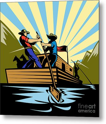 Flatboat Along River Metal Print by Aloysius Patrimonio
