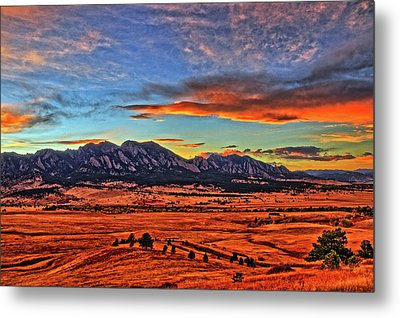 Metal Print featuring the photograph Flatiron Sunset Fire Red by Scott Mahon