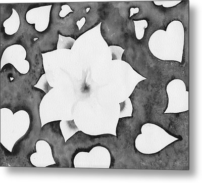 Metal Print featuring the painting Fleur Et Coeurs Monochrome by Marc Philippe Joly