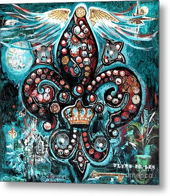 Metal Print featuring the painting Fleur De Lis Steampunk Style by Genevieve Esson