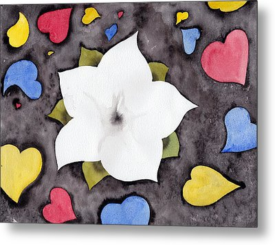 Metal Print featuring the painting Fleur Et Coeurs by Marc Philippe Joly