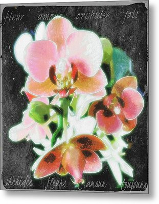 Fleur L'amour French Script Metal Print by ARTography by Pamela Smale Williams
