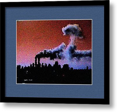 Flight 175 Mushroom Cloud Framed Example Metal Print by James Kosior