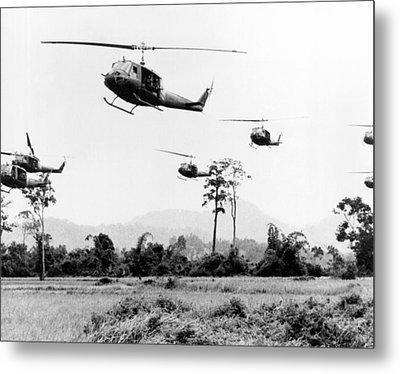 Flight Of Uh-1 Troopships Metal Print