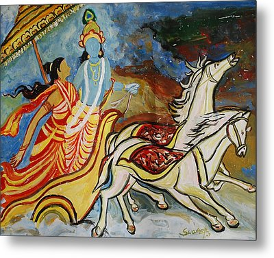 Flight Of Rukmini With Krishna Metal Print