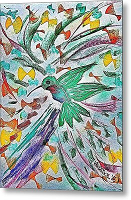 Flight Of The Hummingbird - Blue Tinted Metal Print