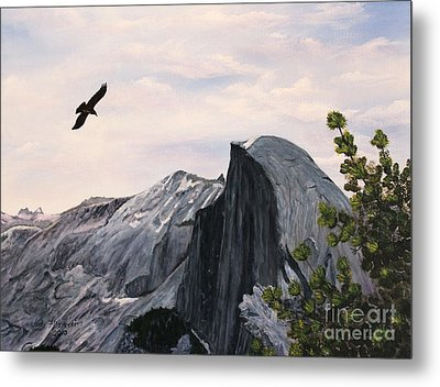 Metal Print featuring the painting Flight Over Yosemite by Judy Filarecki