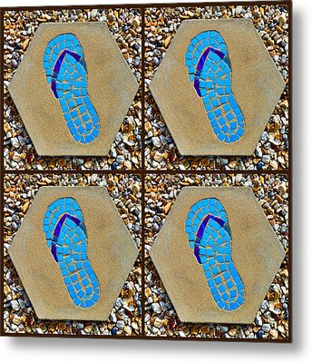 Flip Flop Square Collage Metal Print