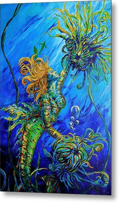 Floating Blond Mermaid Metal Print