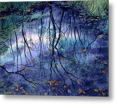 Metal Print featuring the painting Floating Leaves by Sergey Zhiboedov