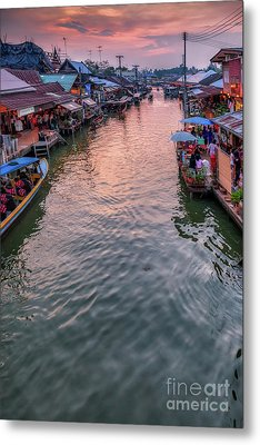 Floating Market Sunset Metal Print by Adrian Evans