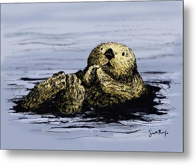 Floating Otter Metal Print