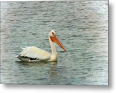 Floating Pelican Metal Print by Krista-