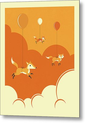 Flock Of Foxes Metal Print by Jazzberry Blue