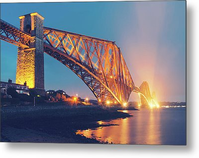 Floodlit Forth Bridge Metal Print