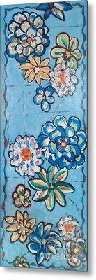 Floor Cloth Blue Flowers Metal Print