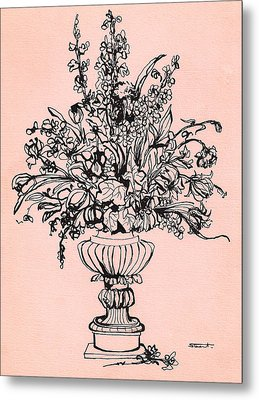 Metal Print featuring the drawing Flora 3 by Stuart