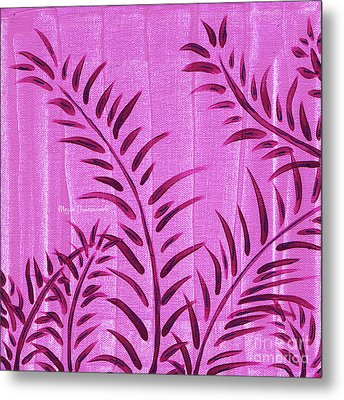 Flora Fauna Tropical Abstract Leaves Painting Magenta Splash By Megan Duncanson Metal Print by Megan Duncanson
