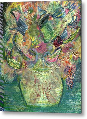 Floral Bouquet Green Metal Print by Anne-Elizabeth Whiteway