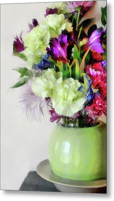 Floral Bouquet In Green Metal Print