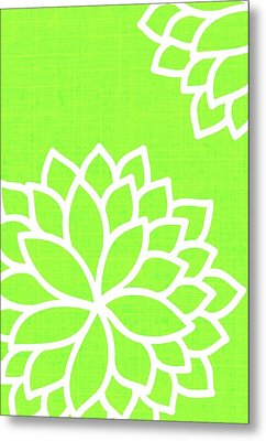 Floral Bursts With Lime Metal Print