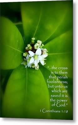 Floral Cross Scripture Metal Print