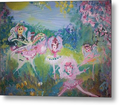 Metal Print featuring the painting Floral Fairies by Judith Desrosiers