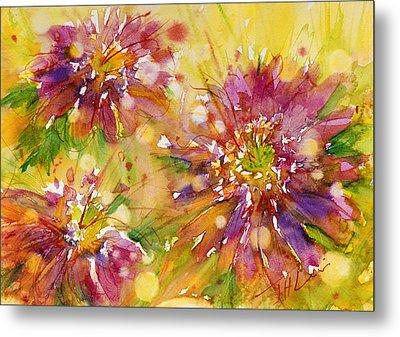 Floral Fireworks Metal Print by Judith Levins