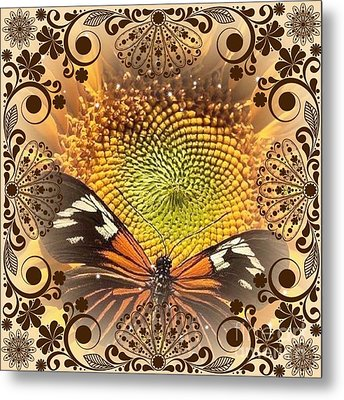 Floral Framed Brown Butterfly Metal Print by Catherine Lott