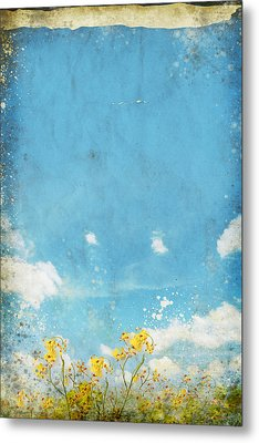 Floral In Blue Sky And Cloud Metal Print