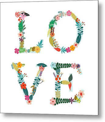 Floral Love Letters Metal Print by Amanda Lakey