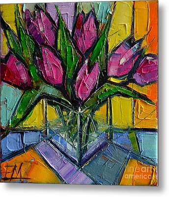 Floral Miniature - Abstract 0615 - Pink Tulips Metal Print by Mona Edulesco