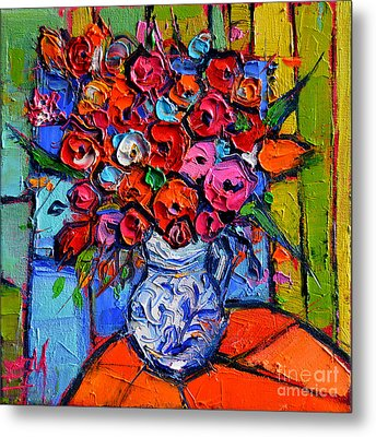 Floral Miniature - Abstract 0715 - Colorful Bouquet Metal Print by Mona Edulesco
