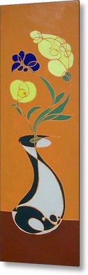 Floral On Orange Metal Print
