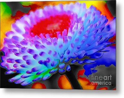 Floral Rainbow Splattered In Thick Paint Metal Print by Catherine Lott