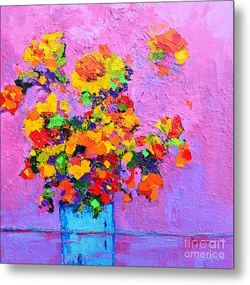 Floral Still Life - Flowers In A Vase Modern Impressionist Palette Knife Artwork Metal Print