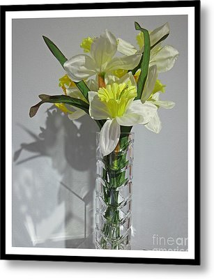 Floral Still Life In Crystal Vase Metal Print by John Malone